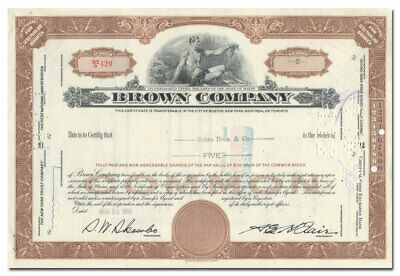 Brown Company Stock Certificate (New Hampshire)