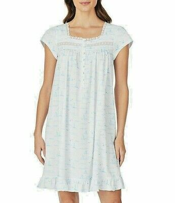 Eileen West Cap Sleeve Sailboat 100% Cotton Knit Short Nightgown Gown L