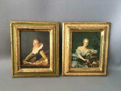 VTG ITALIAN FLORENTINE GOLD GILT TOLE WOOD PICTURE FRAMES w LADY PORTRAITS PAIR