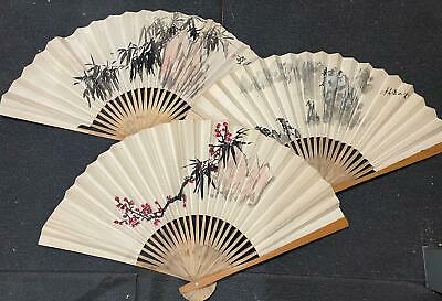 Vtg 3pc Oriental Chinese Painted Paper Bamboo Accordion Folding Fans