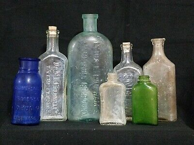 VTG / Antique Apothecary Branded Medical RX Glass Bottle Collection Lot