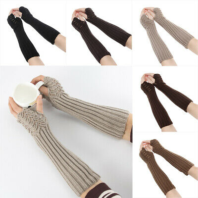 Warm Elastic Arm Warmers Candy Color Fingerless Mittens Long Knitted Gloves