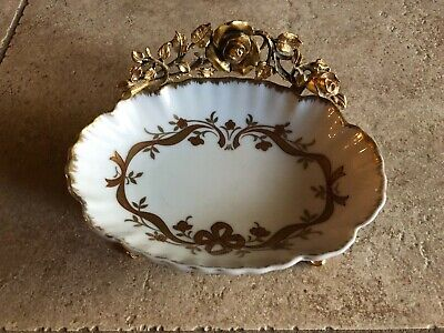 Vintage Matson 24kt Plated Ceramic Soap Dish in Metal Rose Pattern