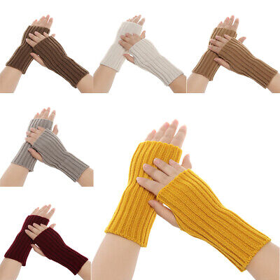 Winter Soft Candy Color Arm Warmers Long Knitted Gloves Fingerless Mittens
