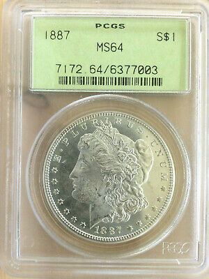 1887 Morgan Silver Dollar Graded MS64 by PCGS $1 Coin