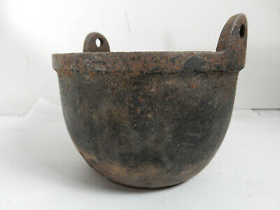 Antique Small Cast Iron Lead Shot Melting Pot Kettle Cauldron