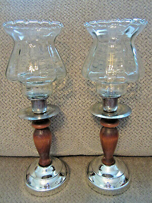 "Home Interiors? pair of votive wood & metal candle holders 11.75"" tall"