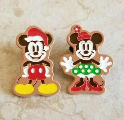 Disney Trading Pins Lot of 2 2017 Holiday Gingerbread Mickey Minnie Mouse GWP