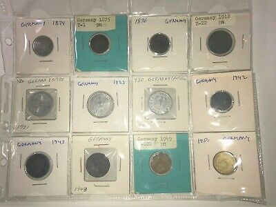 German Coins.  1874 - 1950.  Lot of 12.
