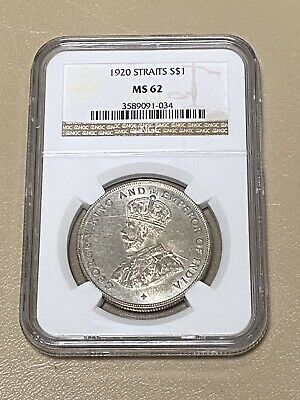 1920 Straits Settlements Malaysia 🇲🇾 Silver $1 Dollar 💵 Ngc Ms 62 * Lustrous