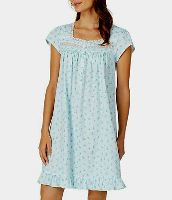 Eileen West Cap Sleeve Seashell Print 100% Cotton Knit Short Nightgown Gown M