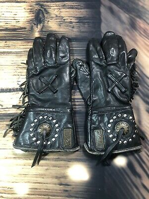 Ladies Harley Davidson Willie G Fringed Motorcycle Gloves size S pre-owned
