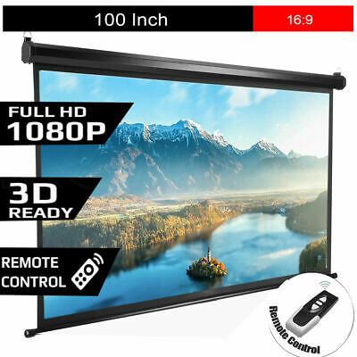100 inch Projection Screen 16:9 HD Portable Electric Motorized Projector Screens