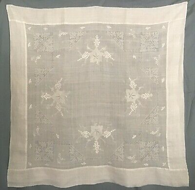 "Vintage Whitework and Drawn Thread Embroidered Linen Tablecloth 36"" X 36"""