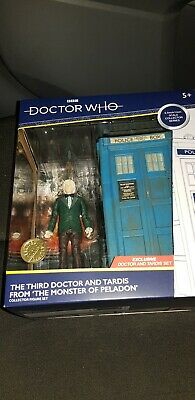 dr who b@m 3rd doctor and tardis -monster of peladon set-new