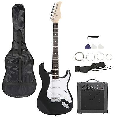 "39"" Full Size Black Electric Guitar Amp,Case,Accessories Pack Beginner Starter"