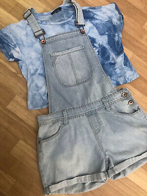 Girls New Look Dungarees & T Shirt Set Outfit Age 13 Summer Featival Light Blue