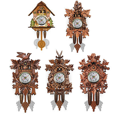 Home Vintage Wood Bird Decorative Hanging Wall Clock Living Room Pendulum Cuckoo