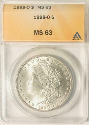 1898-O Morgan Silver Dollar - ANACS MS-63 - Certified Mint State 63