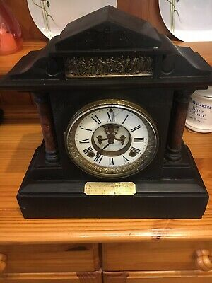 Antique Very Heavy Black Slate Mantle Clock 1909 Police Presentation