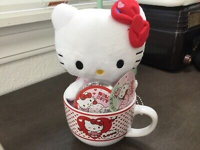 Hello Kitty plush with soup mug cup Unused