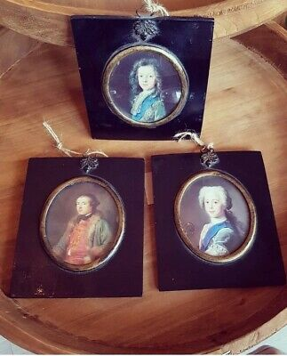 Collection of 3 Early 19th Century Portrait Of Men Antique Ebonised Acorn Frame