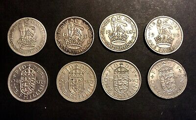 Lot Of Vintage English Shilling Coins