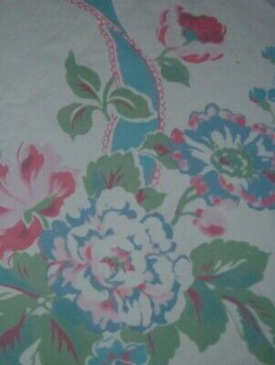 Vintage Tablecloth Floral With Ribbons