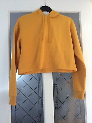 H & M womans girls size S small cropped style hoodie golden yellow