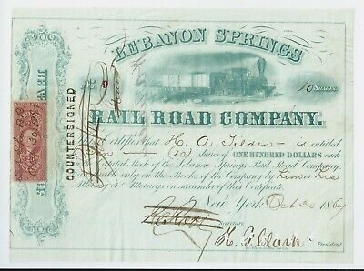 USA stock certificate 1867 Lebanon Springs Rail Road  Co stock no. 9