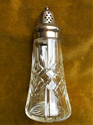 "Vintage Cut Glass/Plated Silver Sugar Shaker. 7"" High."