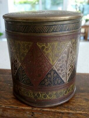 Vintage / Antique Indian Peacock Brass Enamel Canister Jar Caddy Humidor