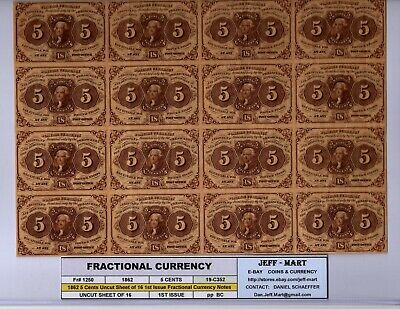1862-63  5 Cent US Fractional 1st Issue  Uncut Sheet of 16  Fr# 1230 UNC 19-C352
