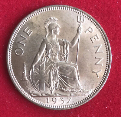 King George VI 1937 British Penny Uncirculated With Good Lustre