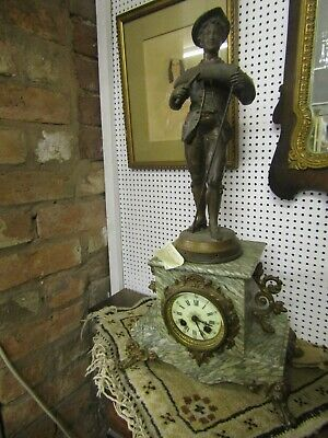 Super Antique French  Green Marble & Spelter Mantle Clock In Working Order,