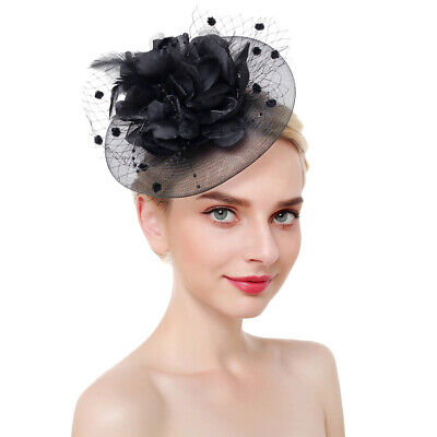 Women Fascinator Hat Tea Party Mesh Bridal Elegant Flower With Clip Headband