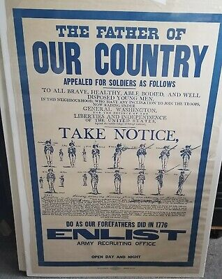 Vintage Father Of Our Country Recruiting Poster 1917 Original Wwi