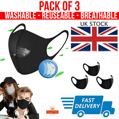 Face Mask UK Reusable Washable Breathable Dust Pollution Allergies - Pack of 3