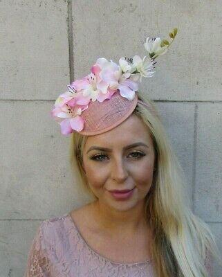 Nude Blush Pink Cream Orchid Flower Floral Hat Hair Fascinator Light Pink 0402