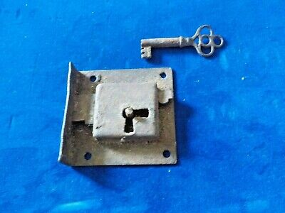 Vintage Antique Hardware Working Small Latch w/Key