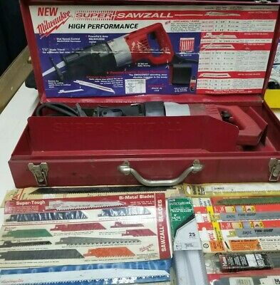MILWAUKEE SUPER SAWZALL WITH LOTS OF BLADES 120v
