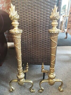 Torch Design Fireplace Andirons with Flame Finial in Brass
