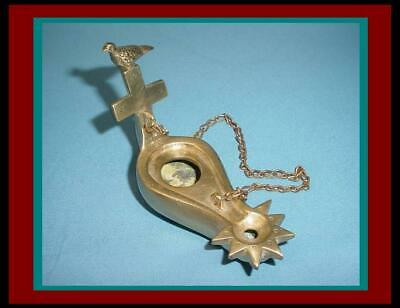 ANTIQUE ROMAN BYZANTINE Bronze / Brass HANGING OIL LAMP with Bird on Cross