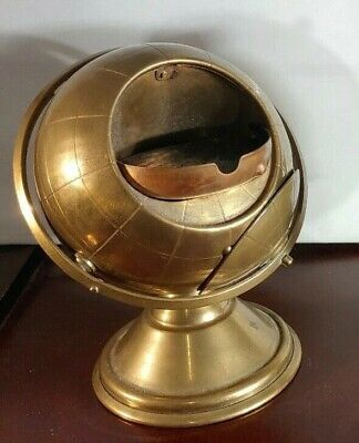 Vintage BRASS GLOBE With Hidden Ashtray 1940's