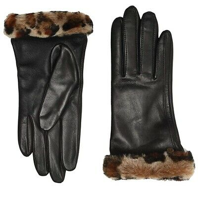 New Nwt Womens Small Black Leopard Ugg Classic Leather Shorty Tech Gloves