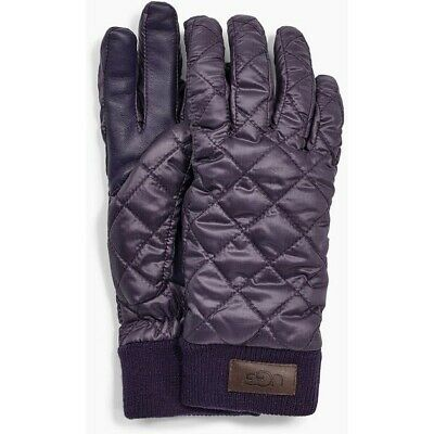 Nwot Womens S/M Navy Blue Ugg Quilted All Weather Tech Gloves W/ Sherpa Lining