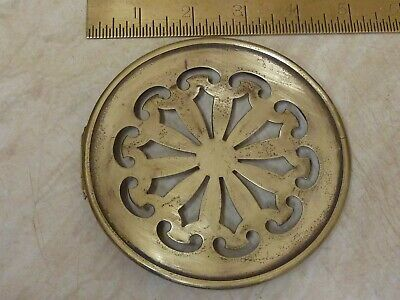 "4 9/16""  Antique French Clock  Pierced Brass Back Door -- (Bf)"