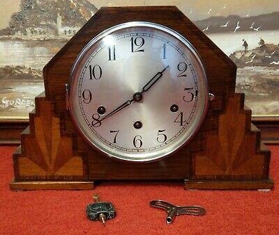 1930's 'Haller' Wood Inlaid 'Westminster' Chiming Mantle Clock– Overhauled & GWO