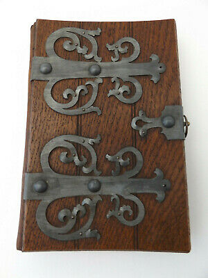 c1900 German DIARY Notebook UNUSED Pages WOOD Boards METAL Clasp BOOKBINDING