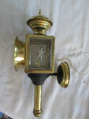 Antique Brass Coach Lamp / Carriage Lantern with Beveled Glass